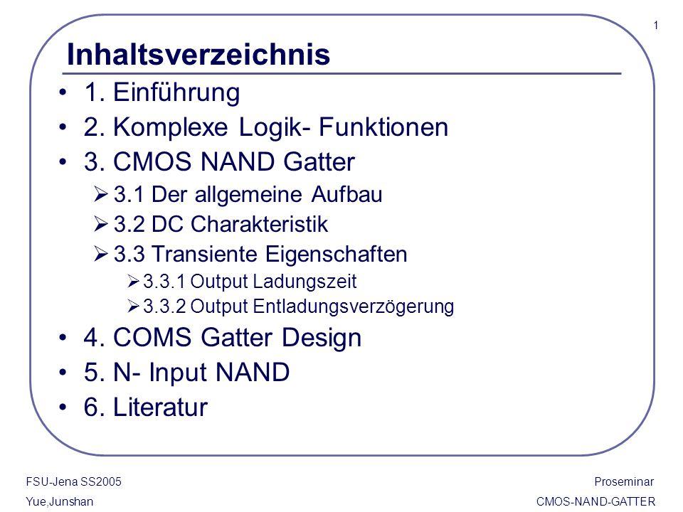 Inhaltsverzeichnis 1. Einführung 2. Komplexe Logik- Funktionen 3. CMOS NAND Gatter  3.1 Der allgemeine Aufbau  3.2 DC Charakteristik  3.3 Transient