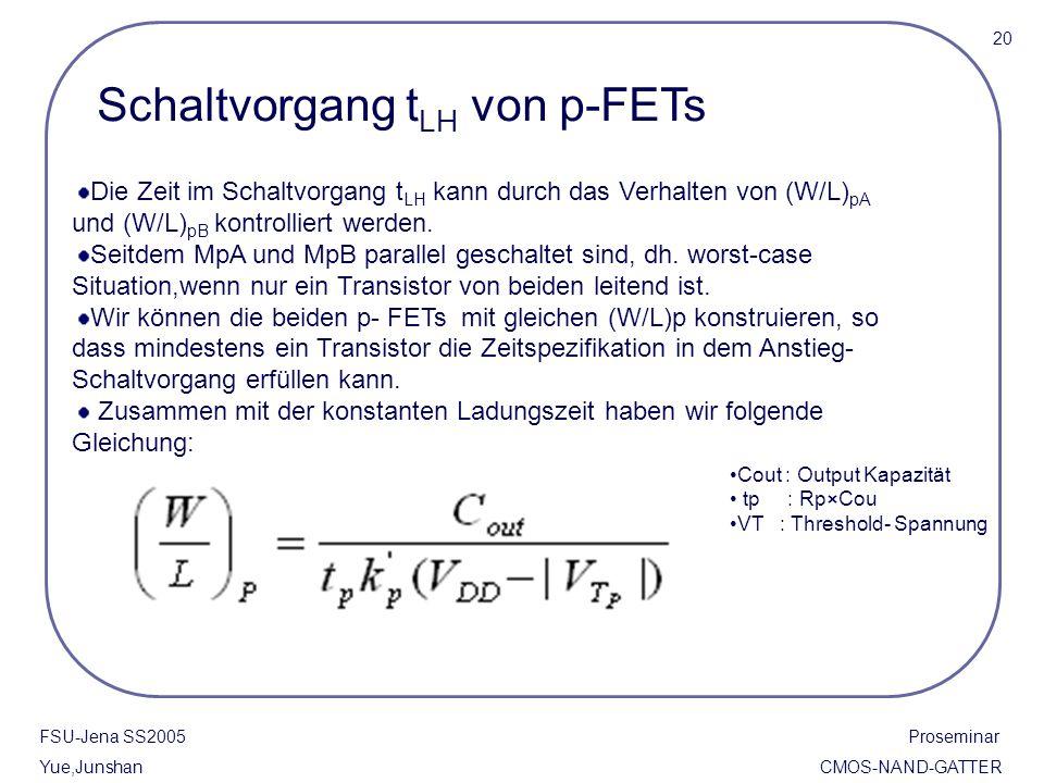 FSU-Jena SS2005 Proseminar Yue,Junshan CMOS-NAND-GATTER Die Zeit im Schaltvorgang t LH kann durch das Verhalten von (W/L) pA und (W/L) pB kontrolliert