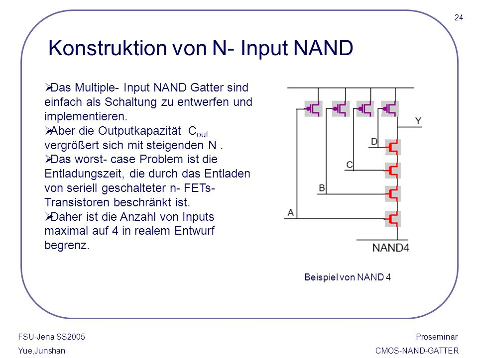 FSU-Jena SS2005 Proseminar Yue,Junshan CMOS-NAND-GATTER Konstruktion von N- Input NAND  Das Multiple- Input NAND Gatter sind einfach als Schaltung zu