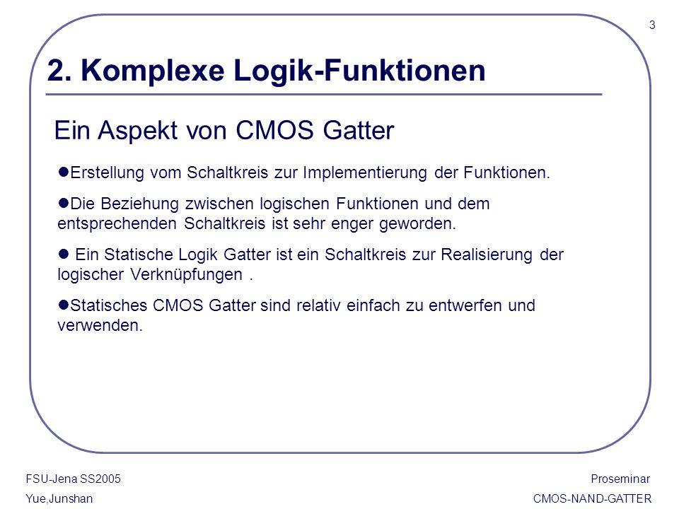 2. Komplexe Logik-Funktionen Ein Aspekt von CMOS Gatter Erstellung vom Schaltkreis zur Implementierung der Funktionen. Die Beziehung zwischen logische