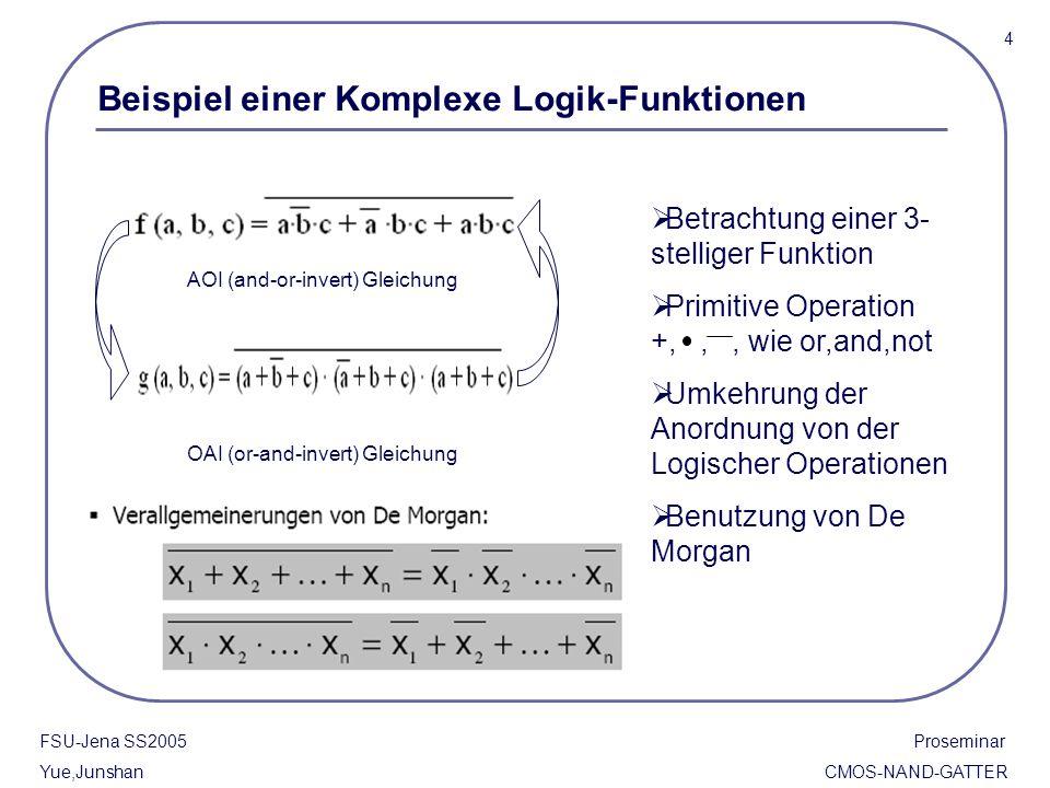 FSU-Jena SS2005 Proseminar Yue,Junshan CMOS-NAND-GATTER Komplexe logik-Gatter basieren auf CMOS Inverter Die n-FET und p-FET als Zugangstransistoren Der Eingangstrom Vin des Verhaltens der beiden Transistoren stimmt.