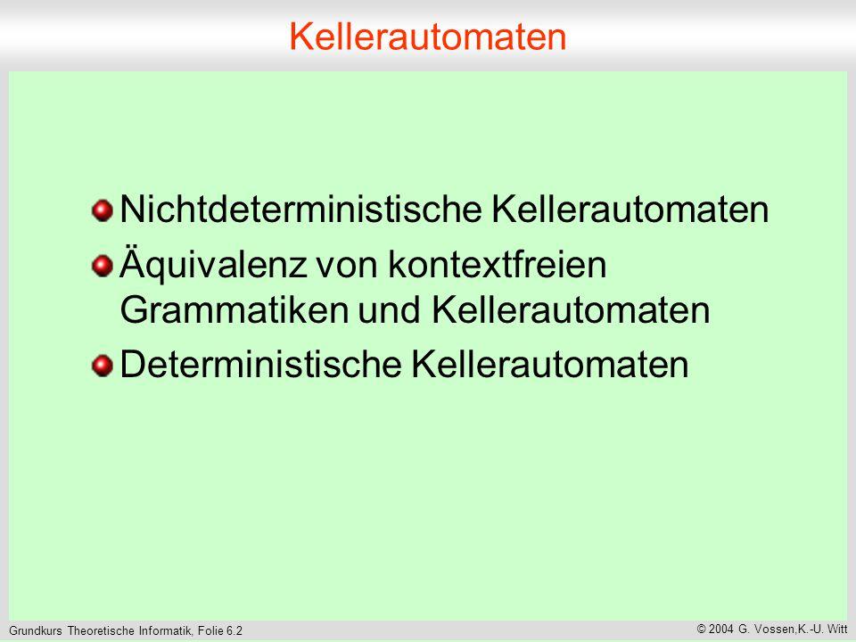 Grundkurs Theoretische Informatik, Folie 6.3 © 2004 G. Vossen,K.-U. Witt Kellerautomat