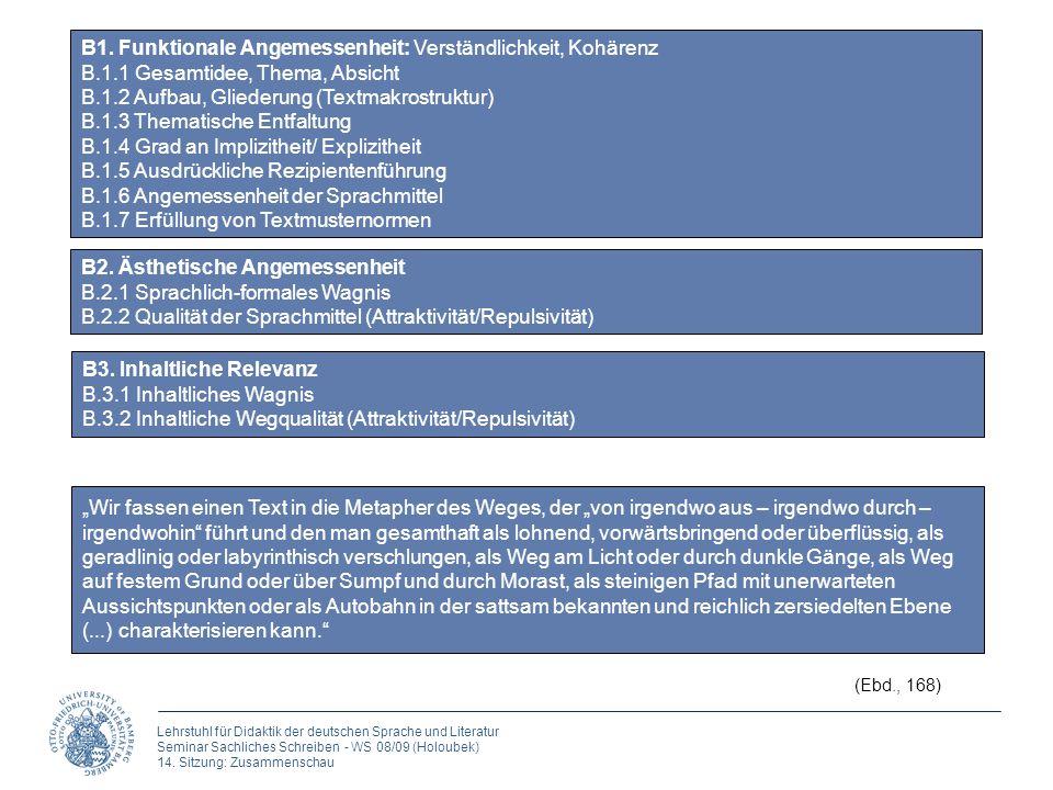 Lehrstuhl für Didaktik der deutschen Sprache und Literatur Seminar Sachliches Schreiben - WS 08/09 (Holoubek) 14.