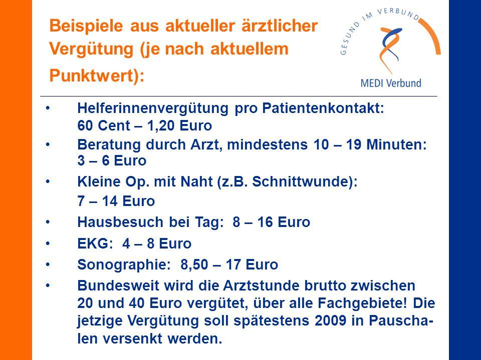 Helferinnenvergütung pro Patientenkontakt: 60 Cent – 1,20 Euro Beratung durch Arzt, mindestens 10 – 19 Minuten: 3 – 6 Euro Kleine Op.