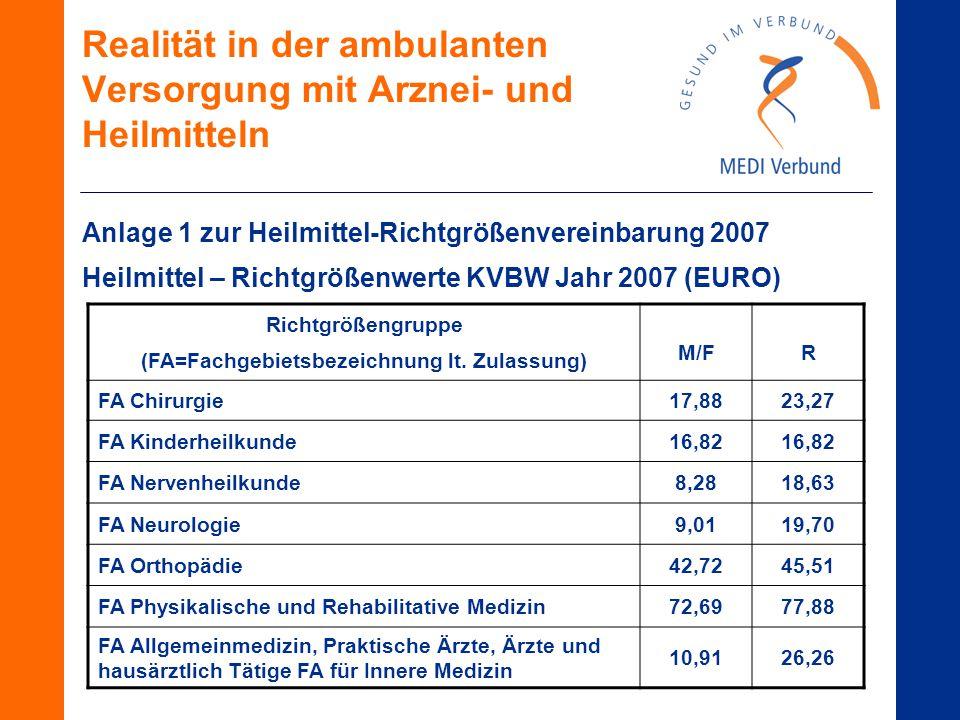 Realität in der ambulanten Versorgung mit Arznei- und Heilmitteln Anlage 1 zur Heilmittel-Richtgrößenvereinbarung 2007 Heilmittel – Richtgrößenwerte KVBW Jahr 2007 (EURO) Richtgrößengruppe (FA=Fachgebietsbezeichnung lt.