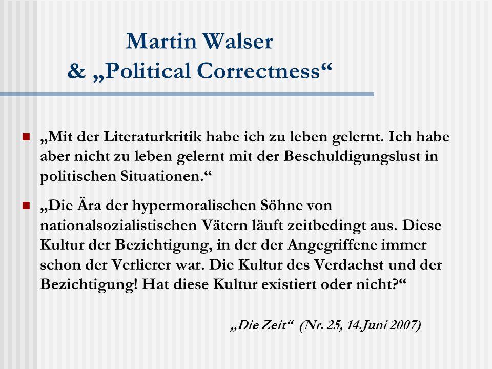 """Martin Walser & """"Political Correctness """"Mit der Literaturkritik habe ich zu leben gelernt."""