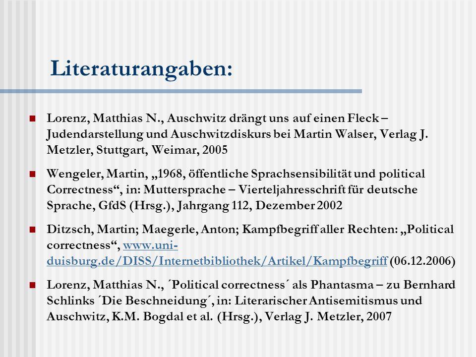Literaturangaben: Lorenz, Matthias N., Auschwitz drängt uns auf einen Fleck – Judendarstellung und Auschwitzdiskurs bei Martin Walser, Verlag J.