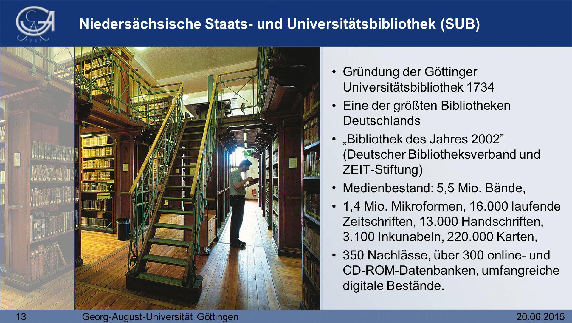 13Georg-August-Universität Göttingen20.06.2015 Niedersächsische Staats- und Universitätsbibliothek (SUB) Gründung der Göttinger Universitätsbibliothek