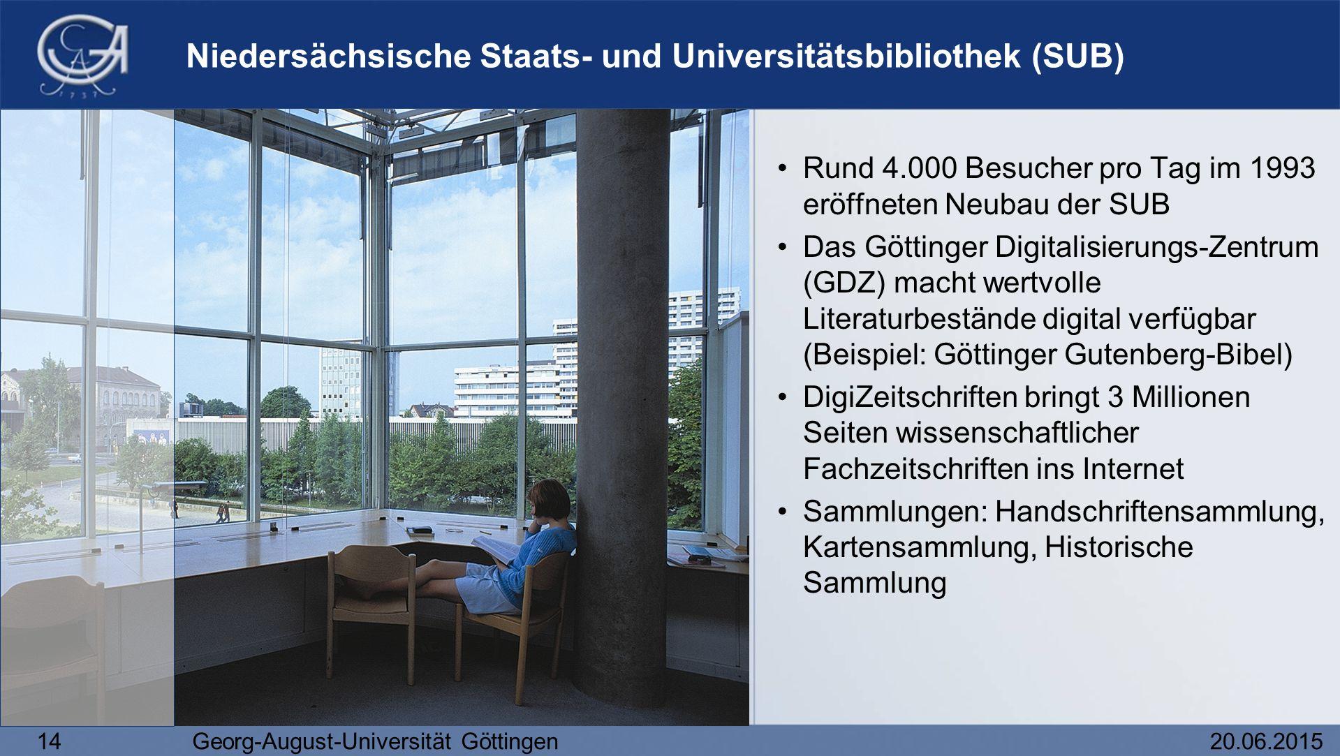 14Georg-August-Universität Göttingen20.06.2015 Niedersächsische Staats- und Universitätsbibliothek (SUB) Rund 4.000 Besucher pro Tag im 1993 eröffnete