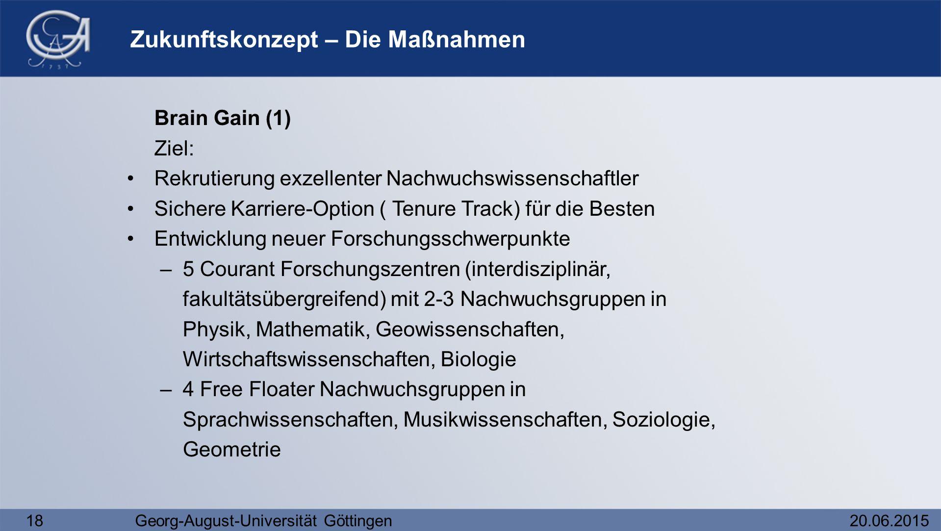18Georg-August-Universität Göttingen20.06.2015 Zukunftskonzept – Die Maßnahmen Brain Gain (1) Ziel: Rekrutierung exzellenter Nachwuchswissenschaftler