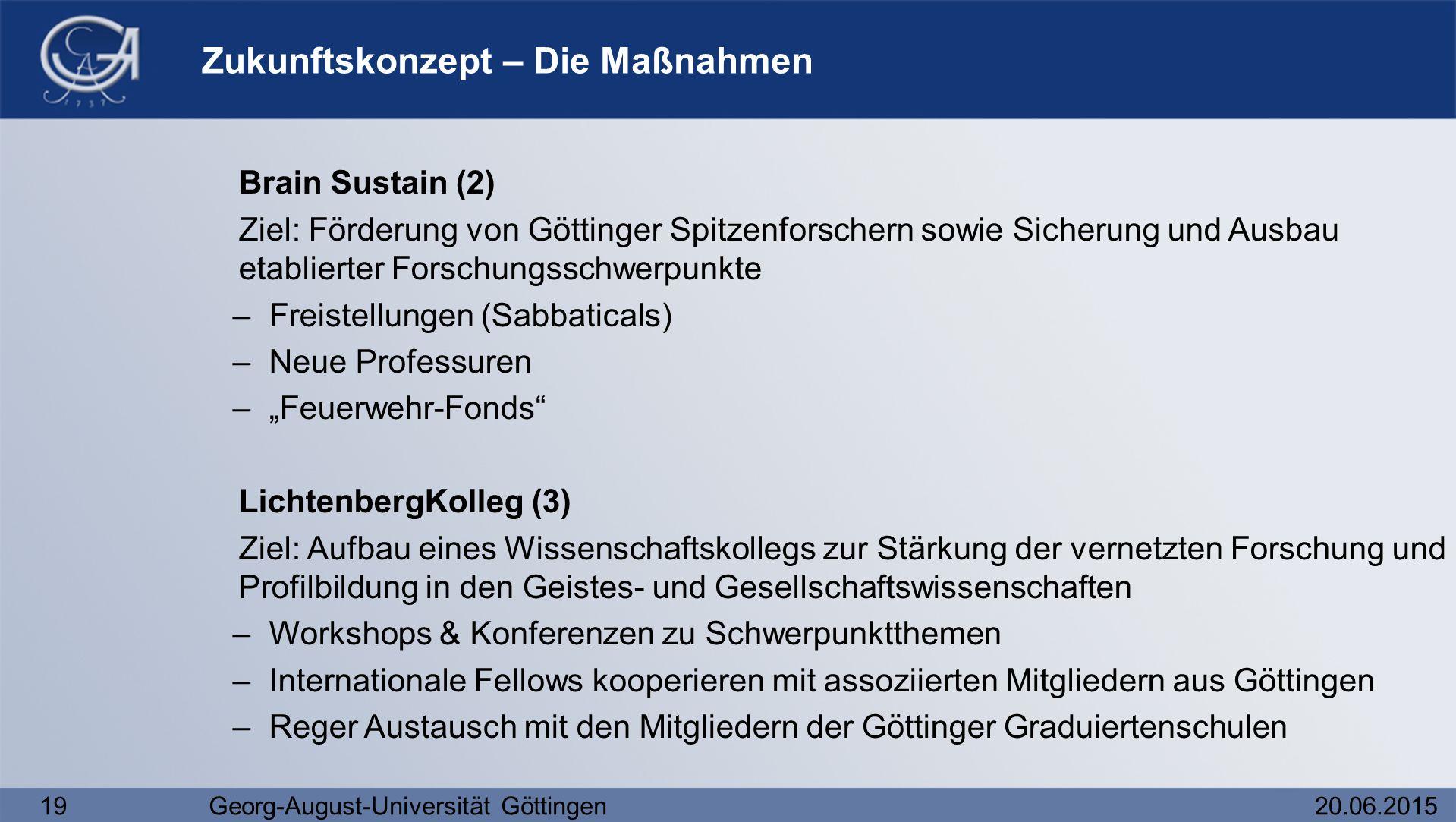 19Georg-August-Universität Göttingen20.06.2015 Zukunftskonzept – Die Maßnahmen Brain Sustain (2) Ziel: Förderung von Göttinger Spitzenforschern sowie