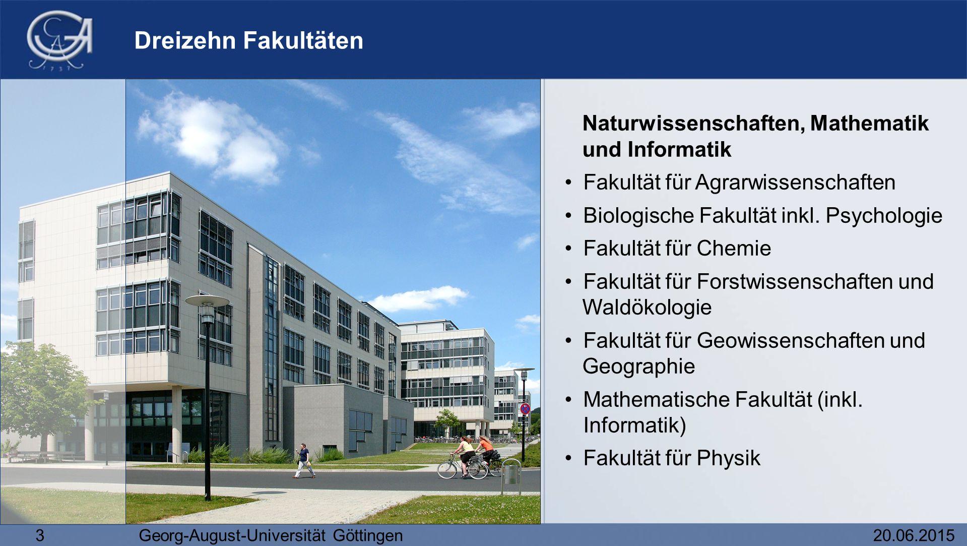 3Georg-August-Universität Göttingen20.06.2015 Dreizehn Fakultäten Naturwissenschaften, Mathematik und Informatik Fakultät für Agrarwissenschaften Biol