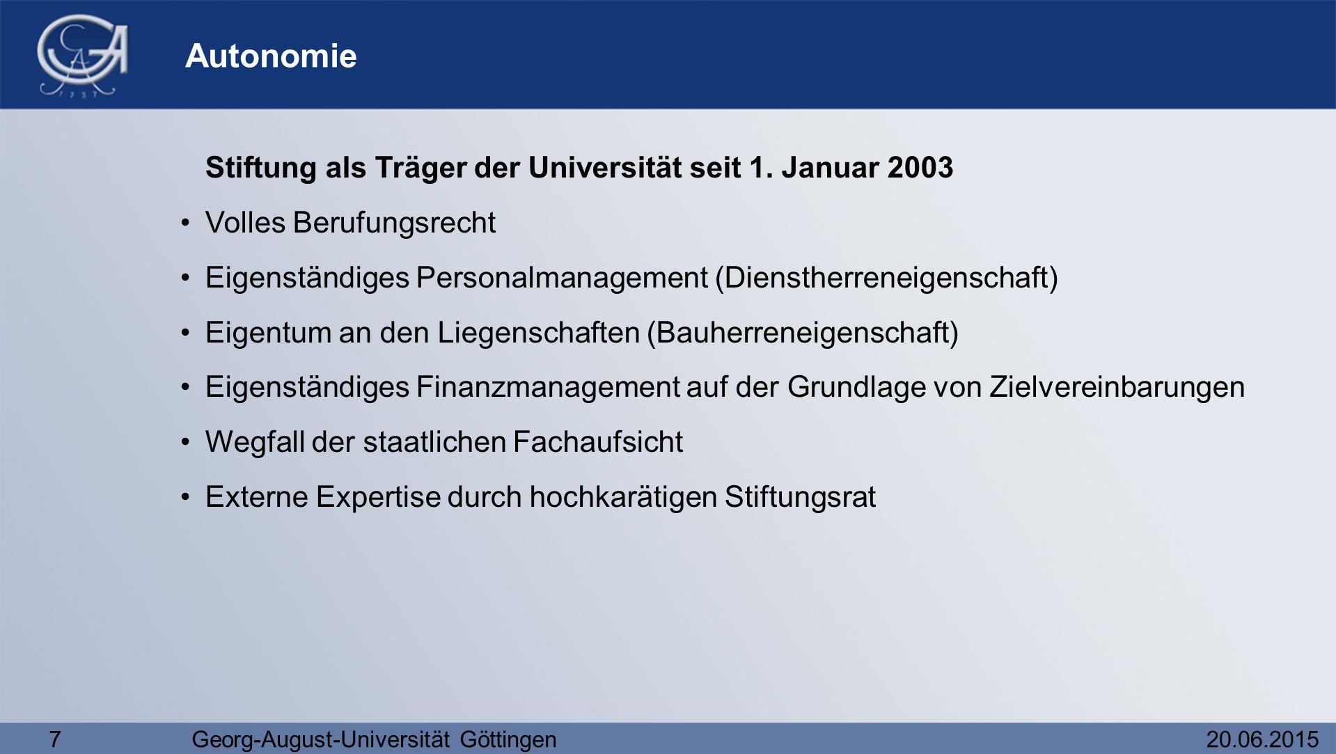7Georg-August-Universität Göttingen20.06.2015 Autonomie Stiftung als Träger der Universität seit 1. Januar 2003 Volles Berufungsrecht Eigenständiges P