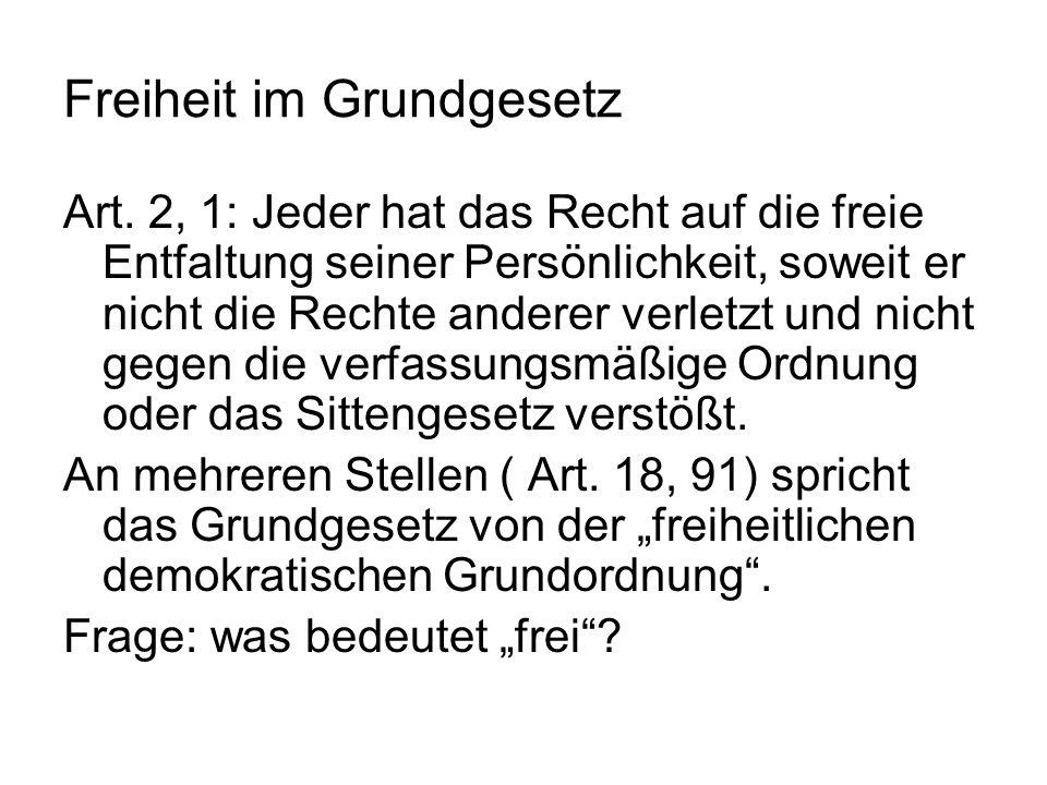 Freiheit im Grundgesetz Art.