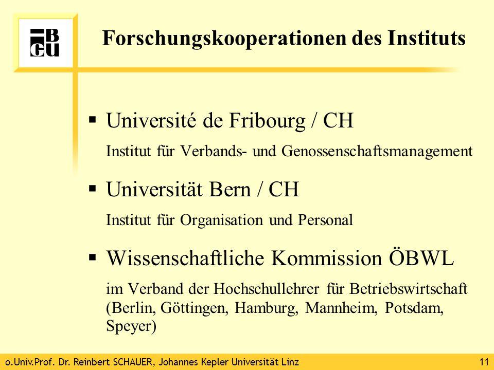 o.Univ.Prof. Dr. Reinbert SCHAUER, Johannes Kepler Universität Linz11 Forschungskooperationen des Instituts  Université de Fribourg / CH Institut für
