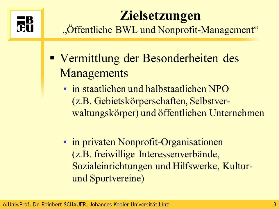 """o.Univ.Prof. Dr. Reinbert SCHAUER, Johannes Kepler Universität Linz3 Zielsetzungen """"Öffentliche BWL und Nonprofit-Management""""  Vermittlung der Besond"""
