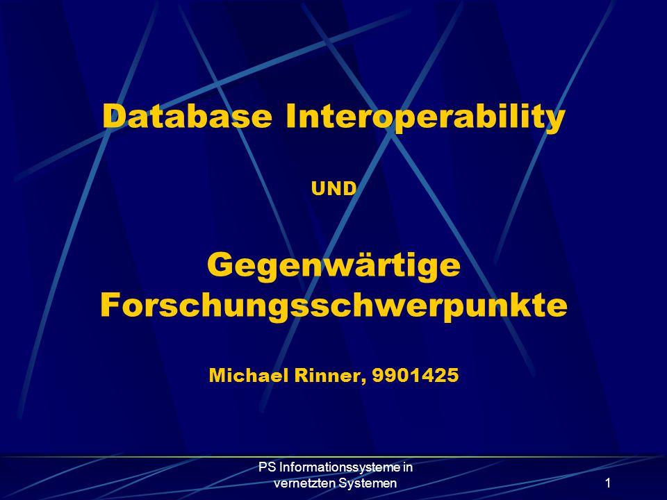 PS Informationssysteme in vernetzten Systemen1 Database Interoperability UND Gegenwärtige Forschungsschwerpunkte Michael Rinner, 9901425