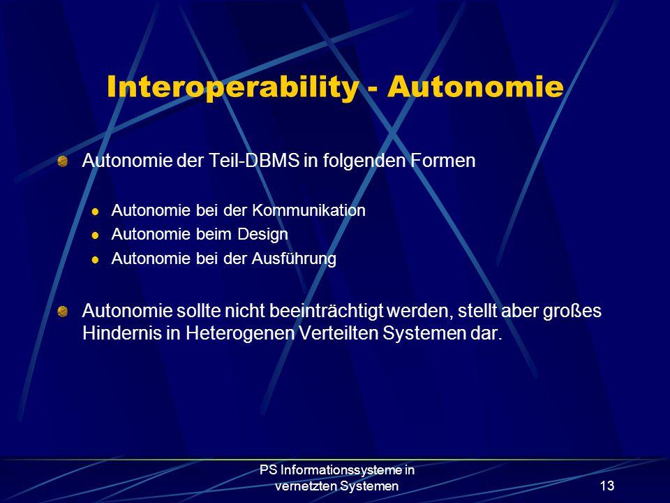 PS Informationssysteme in vernetzten Systemen13 Interoperability - Autonomie Autonomie der Teil-DBMS in folgenden Formen Autonomie bei der Kommunikation Autonomie beim Design Autonomie bei der Ausführung Autonomie sollte nicht beeinträchtigt werden, stellt aber großes Hindernis in Heterogenen Verteilten Systemen dar.