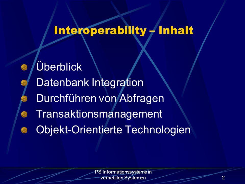 PS Informationssysteme in vernetzten Systemen2 Interoperability – Inhalt Überblick Datenbank Integration Durchführen von Abfragen Transaktionsmanagement Objekt-Orientierte Technologien