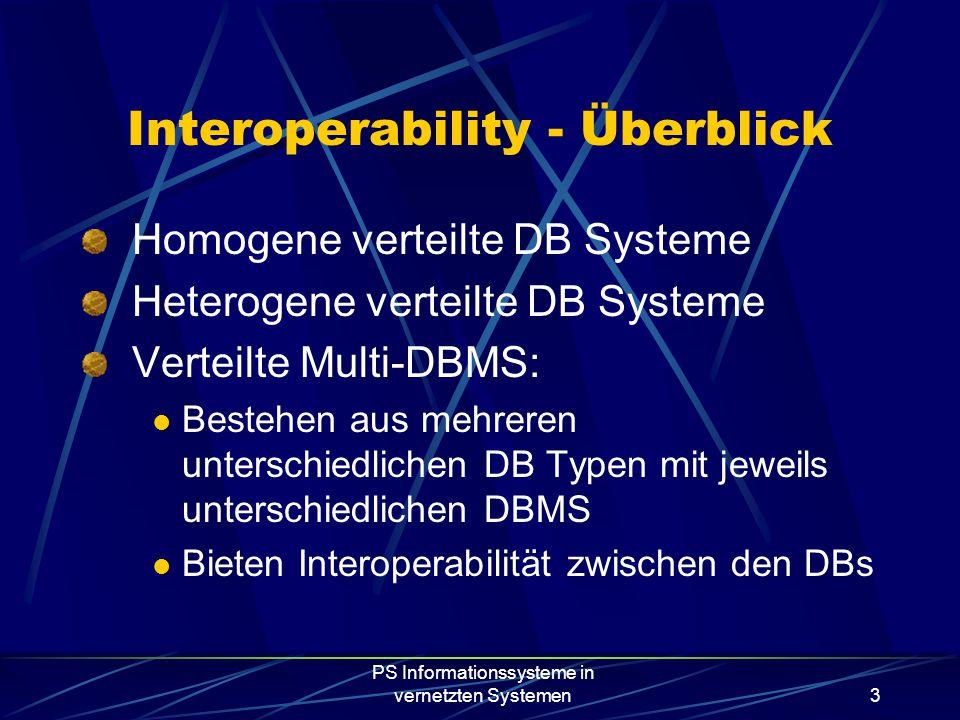 PS Informationssysteme in vernetzten Systemen3 Interoperability - Überblick Homogene verteilte DB Systeme Heterogene verteilte DB Systeme Verteilte Multi-DBMS: Bestehen aus mehreren unterschiedlichen DB Typen mit jeweils unterschiedlichen DBMS Bieten Interoperabilität zwischen den DBs