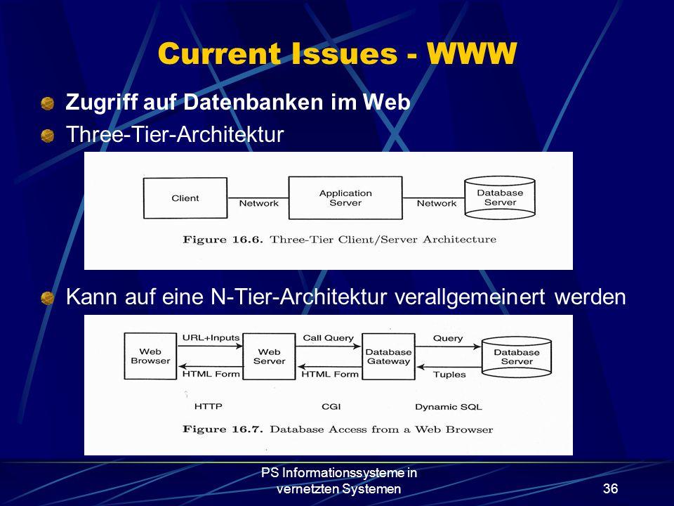 PS Informationssysteme in vernetzten Systemen36 Zugriff auf Datenbanken im Web Three-Tier-Architektur Kann auf eine N-Tier-Architektur verallgemeinert werden Current Issues - WWW