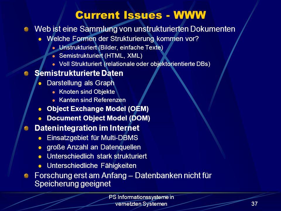 PS Informationssysteme in vernetzten Systemen37 Current Issues - WWW Web ist eine Sammlung von unstrukturierten Dokumenten Welche Formen der Strukturierung kommen vor.