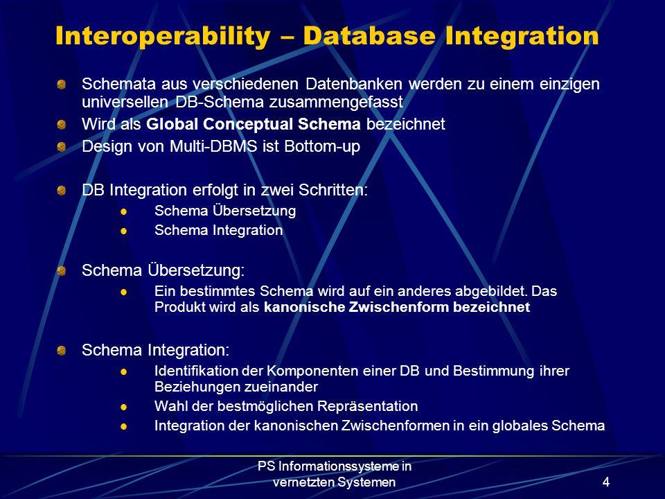 PS Informationssysteme in vernetzten Systemen4 Interoperability – Database Integration Schemata aus verschiedenen Datenbanken werden zu einem einzigen universellen DB-Schema zusammengefasst Wird als Global Conceptual Schema bezeichnet Design von Multi-DBMS ist Bottom-up DB Integration erfolgt in zwei Schritten: Schema Übersetzung Schema Integration Schema Übersetzung: Ein bestimmtes Schema wird auf ein anderes abgebildet.