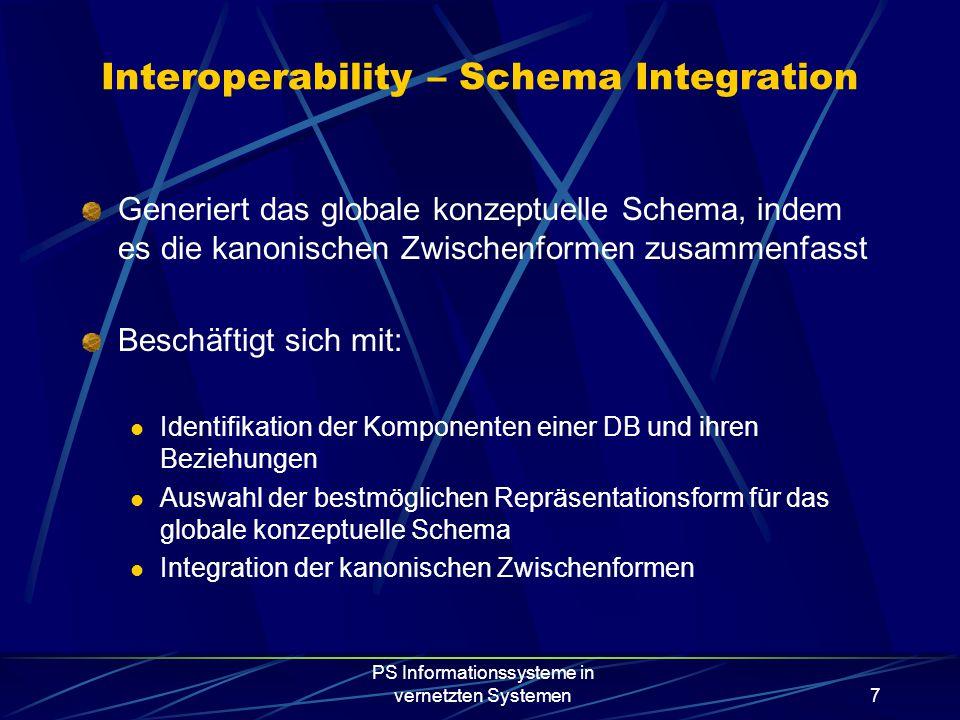 PS Informationssysteme in vernetzten Systemen7 Generiert das globale konzeptuelle Schema, indem es die kanonischen Zwischenformen zusammenfasst Beschäftigt sich mit: Identifikation der Komponenten einer DB und ihren Beziehungen Auswahl der bestmöglichen Repräsentationsform für das globale konzeptuelle Schema Integration der kanonischen Zwischenformen Interoperability – Schema Integration