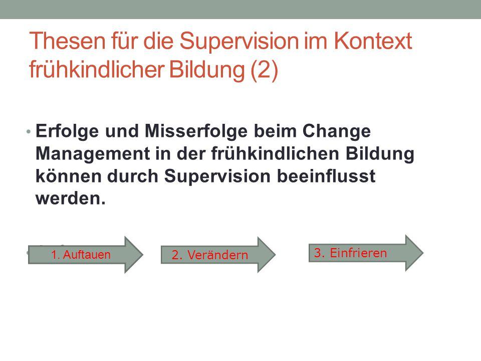 Thesen für die Supervision im Kontext frühkindlicher Bildung (2) Erfolge und Misserfolge beim Change Management in der frühkindlichen Bildung können d