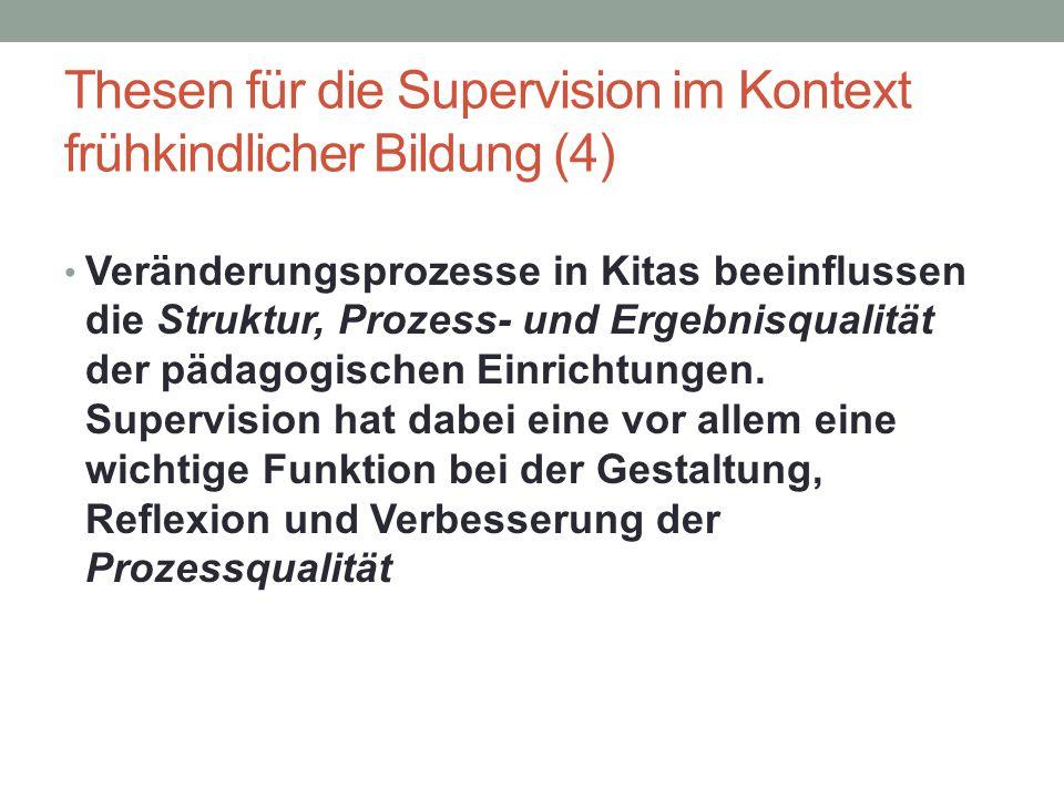 Thesen für die Supervision im Kontext frühkindlicher Bildung (4) Veränderungsprozesse in Kitas beeinflussen die Struktur, Prozess- und Ergebnisqualitä