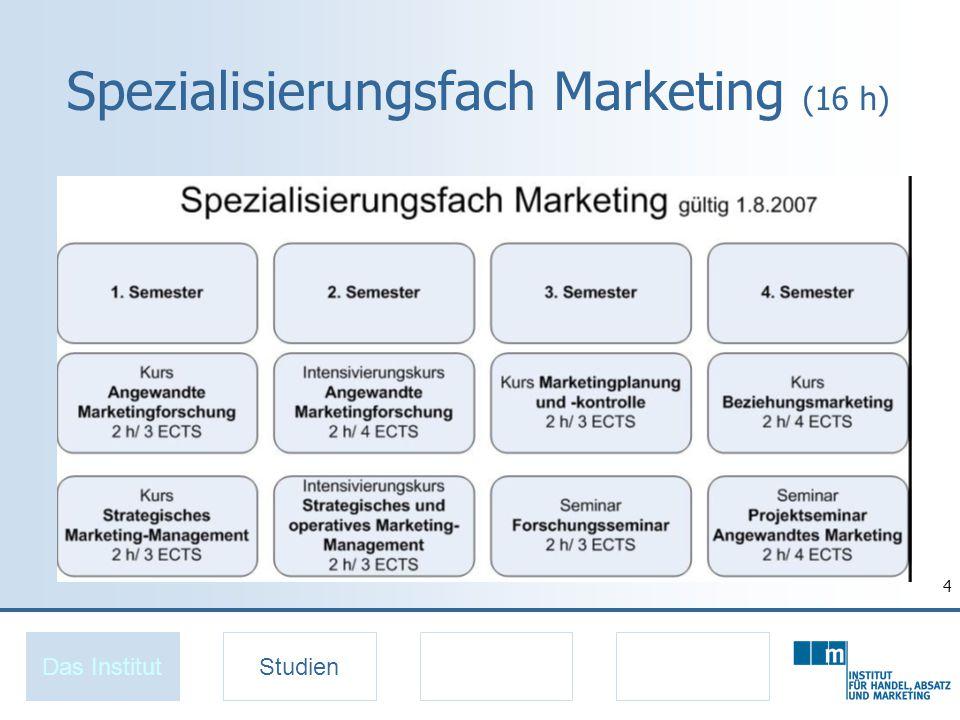 4 Spezialisierungsfach Marketing (16 h) Das InstitutStudien