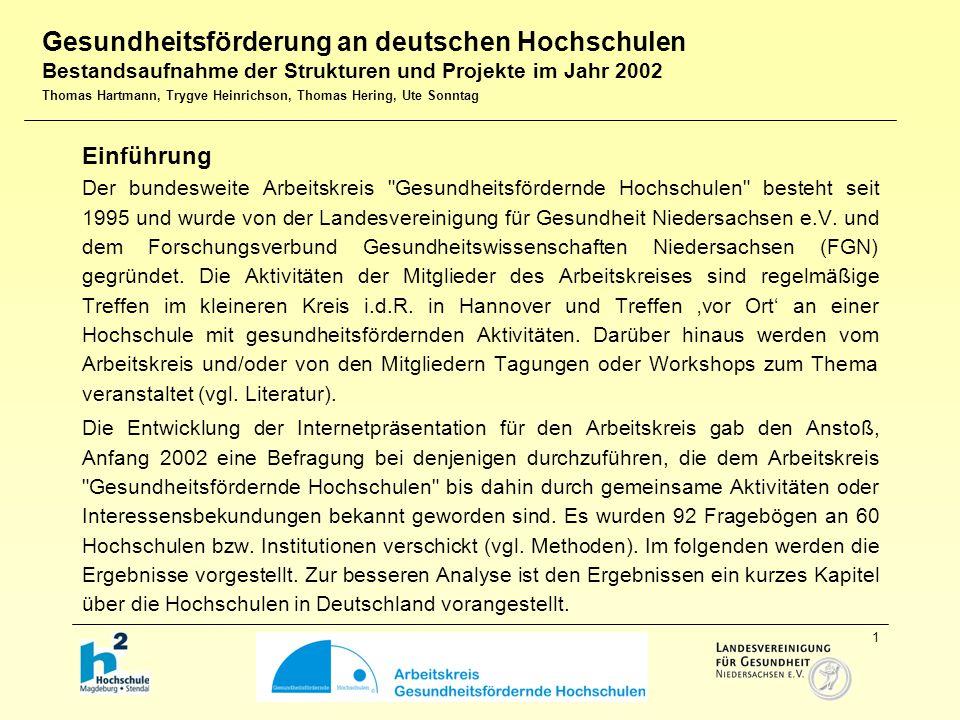 1 Einführung Der bundesweite Arbeitskreis Gesundheitsfördernde Hochschulen besteht seit 1995 und wurde von der Landesvereinigung für Gesundheit Niedersachsen e.V.