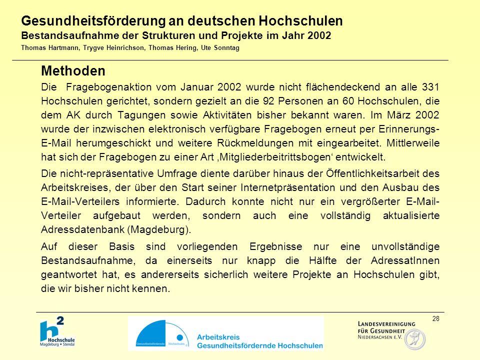 28 Methoden Die Fragebogenaktion vom Januar 2002 wurde nicht flächendeckend an alle 331 Hochschulen gerichtet, sondern gezielt an die 92 Personen an 60 Hochschulen, die dem AK durch Tagungen sowie Aktivitäten bisher bekannt waren.