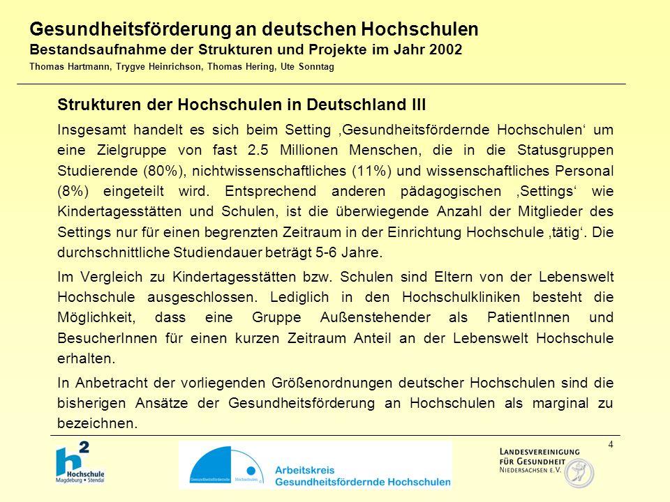5 Zusammenfassung der Ergebnisse der Befragung (n=34) I Zwei Hochschulen (6%) haben ein Leitbild zur Gesundheitsförderung aufgenommen (HfM Hannover, UNI Trier; nachgemeldet: FH Neubrandenburg) Drei Hochschulen (9%) besitzen eine Dienstvereinbarung zur Gesundheits- förderung (HfM Hannover, MedH Hannover, UNI Potsdam) 20 Hochschulen (59%) haben gesundheitsfördernde Strukturen.