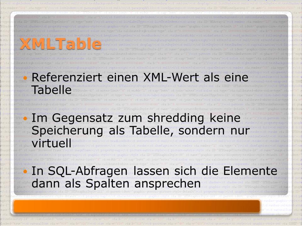 XMLTable Referenziert einen XML-Wert als eine Tabelle Im Gegensatz zum shredding keine Speicherung als Tabelle, sondern nur virtuell In SQL-Abfragen lassen sich die Elemente dann als Spalten ansprechen