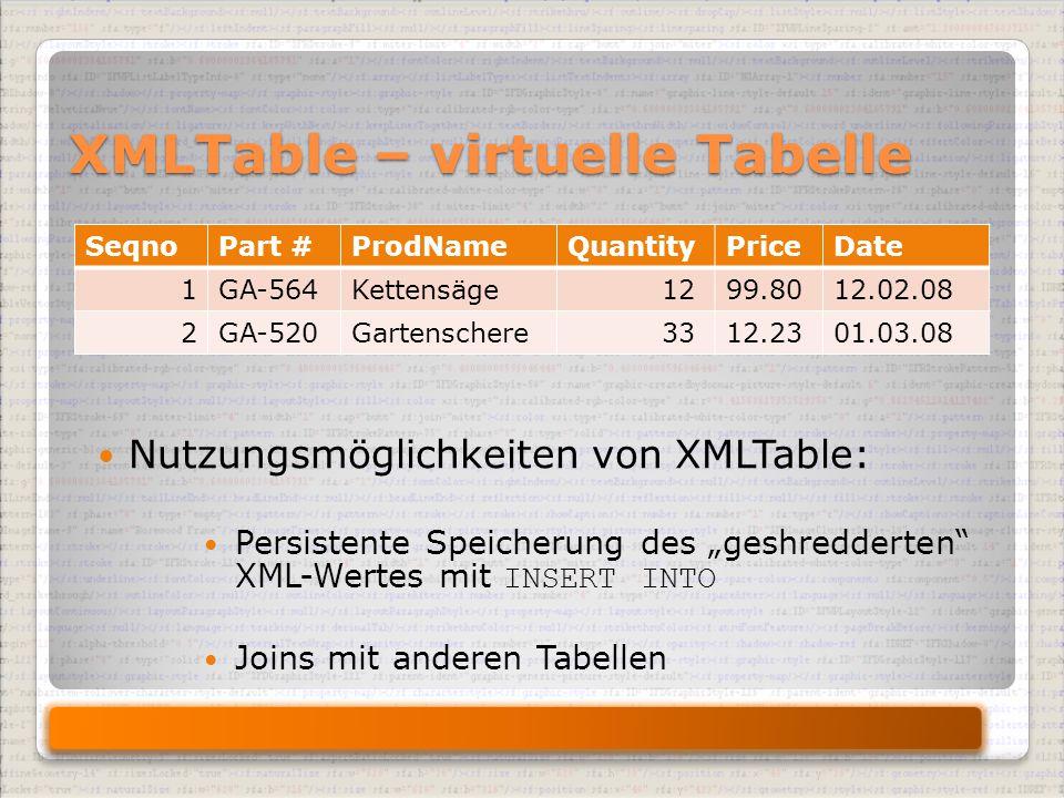 """XMLTable – virtuelle Tabelle SeqnoPart #ProdNameQuantityPriceDate 1GA-564Kettensäge 1299.8012.02.08 2GA-520Gartenschere 3312.2301.03.08 Nutzungsmöglichkeiten von XMLTable: Persistente Speicherung des """"geshredderten XML-Wertes mit INSERT INTO Joins mit anderen Tabellen"""