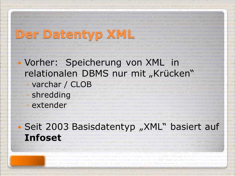 """Der Datentyp XML Vorher: Speicherung von XML in relationalen DBMS nur mit """"Krücken ◦varchar / CLOB ◦shredding ◦extender Seit 2003 Basisdatentyp """"XML basiert auf Infoset"""