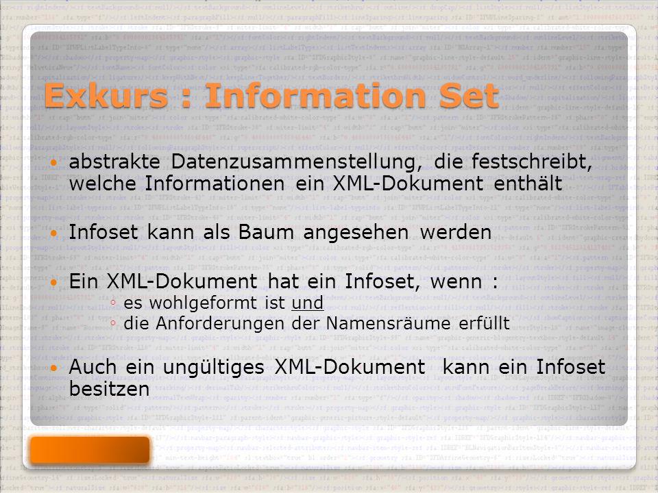 Exkurs : Information Set abstrakte Datenzusammenstellung, die festschreibt, welche Informationen ein XML-Dokument enthält Infoset kann als Baum angesehen werden Ein XML-Dokument hat ein Infoset, wenn : ◦ es wohlgeformt ist und ◦ die Anforderungen der Namensräume erfüllt Auch ein ungültiges XML-Dokument kann ein Infoset besitzen
