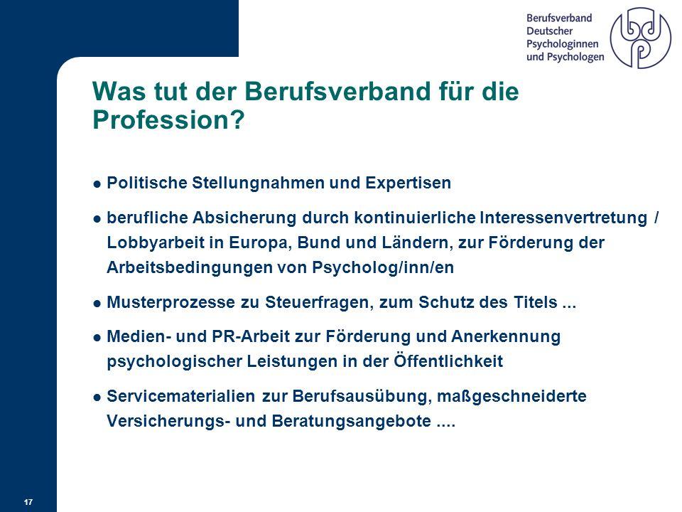 16 Der BDP gegründet 1946, www.bdp-verband.de Es ist der einzige Psychologenverband, der sich für die Gesamtheit der Psychologenschaft einsetzt. Die M