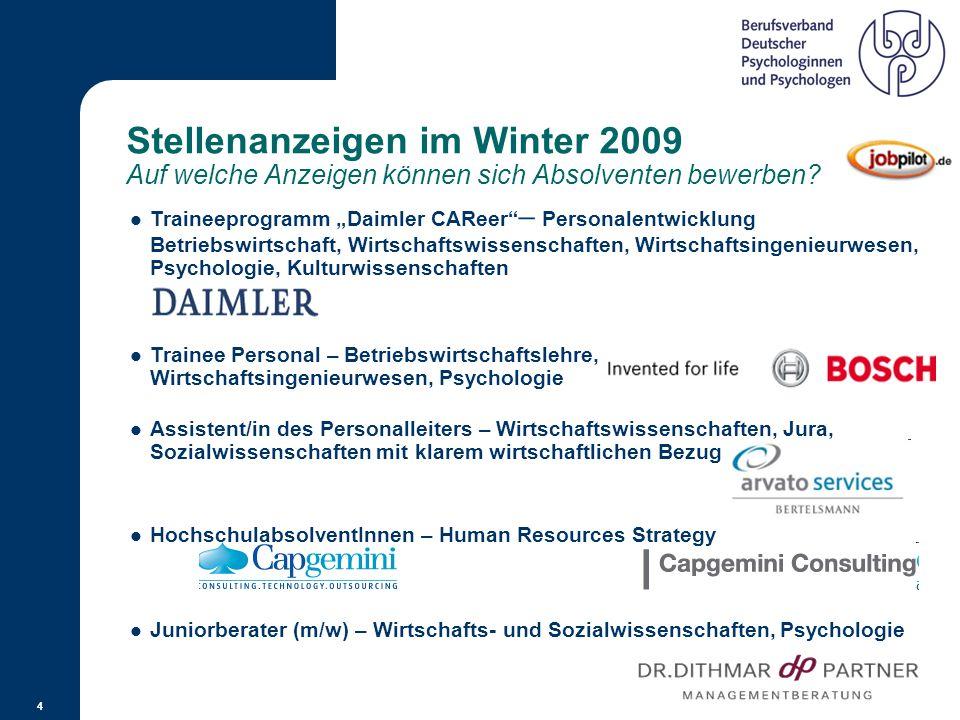 Stellenanzeigen im 1. Halbjahr 2006 Für welche Bereiche wurden Psychologen gesucht? Quelle: Adecco Stellenindex 2007 3