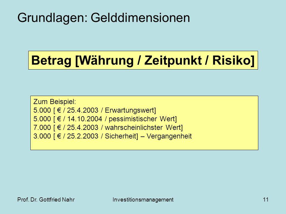 Prof. Dr. Gottfried NahrInvestitionsmanagement11 Grundlagen: Gelddimensionen Betrag [Währung / Zeitpunkt / Risiko] Zum Beispiel: 5.000 [ € / 25.4.2003