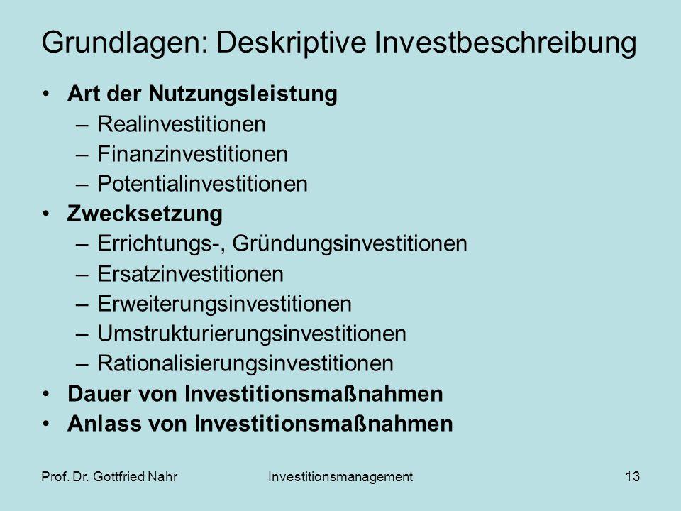 Prof. Dr. Gottfried NahrInvestitionsmanagement13 Grundlagen: Deskriptive Investbeschreibung Art der Nutzungsleistung –Realinvestitionen –Finanzinvesti