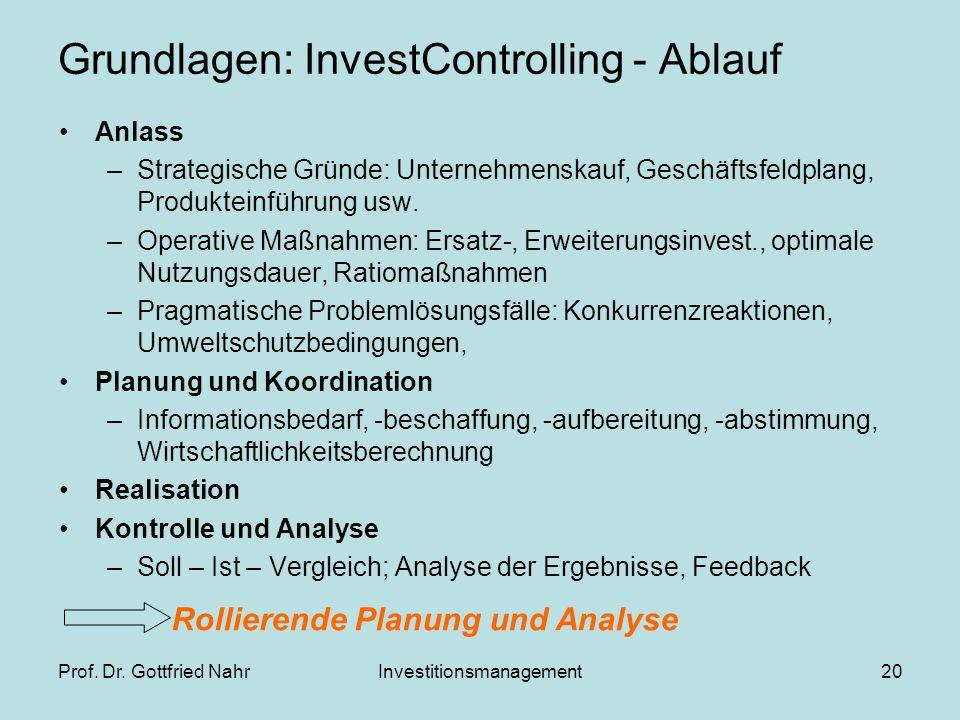 Prof. Dr. Gottfried NahrInvestitionsmanagement20 Grundlagen: InvestControlling - Ablauf Anlass –Strategische Gründe: Unternehmenskauf, Geschäftsfeldpl