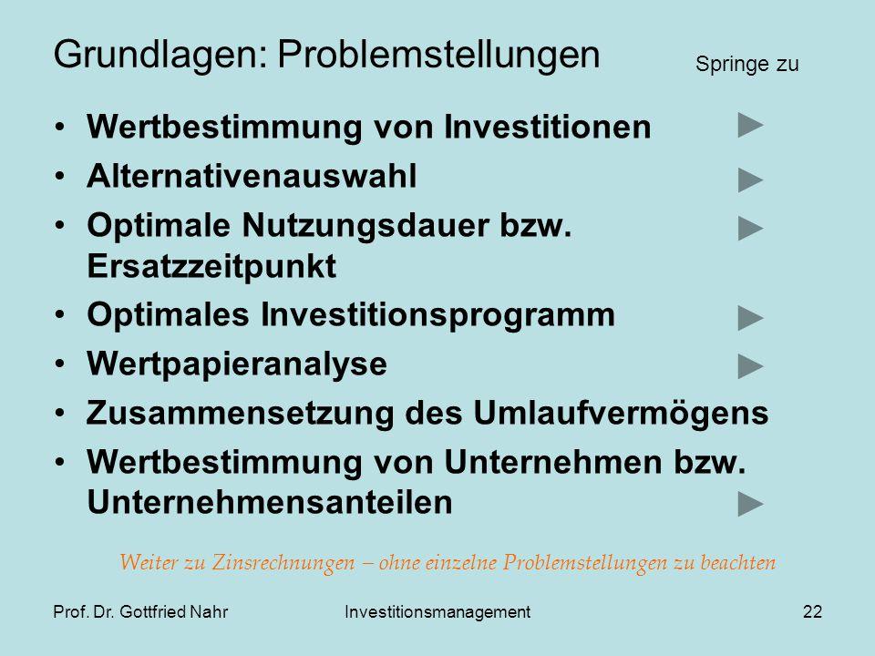 Prof. Dr. Gottfried NahrInvestitionsmanagement22 Grundlagen: Problemstellungen Wertbestimmung von Investitionen Alternativenauswahl Optimale Nutzungsd