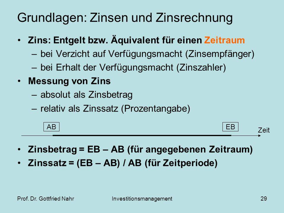 Prof. Dr. Gottfried NahrInvestitionsmanagement29 Grundlagen: Zinsen und Zinsrechnung Zins: Entgelt bzw. Äquivalent für einen Zeitraum –bei Verzicht au