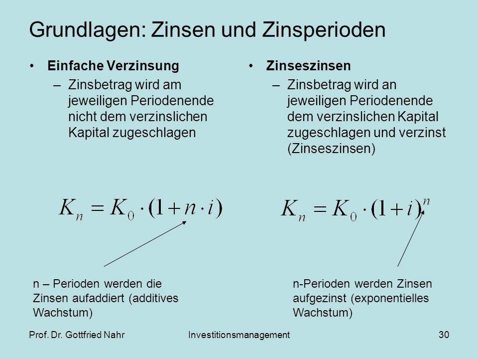 Prof. Dr. Gottfried NahrInvestitionsmanagement30 Grundlagen: Zinsen und Zinsperioden Einfache Verzinsung –Zinsbetrag wird am jeweiligen Periodenende n