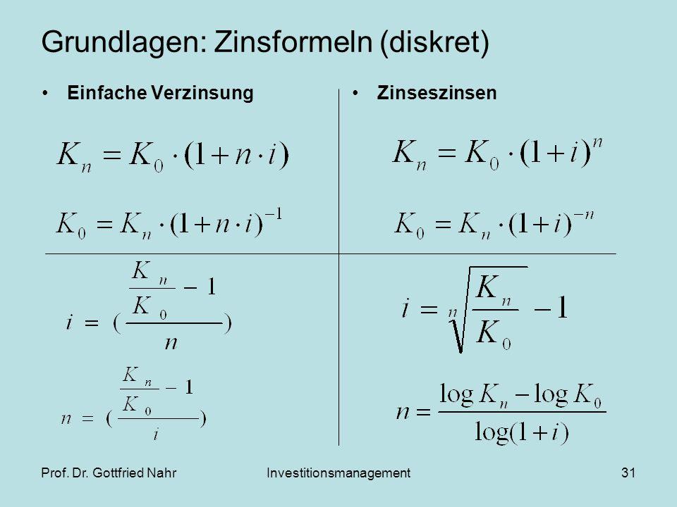 Prof. Dr. Gottfried NahrInvestitionsmanagement31 Grundlagen: Zinsformeln (diskret) Einfache VerzinsungZinseszinsen