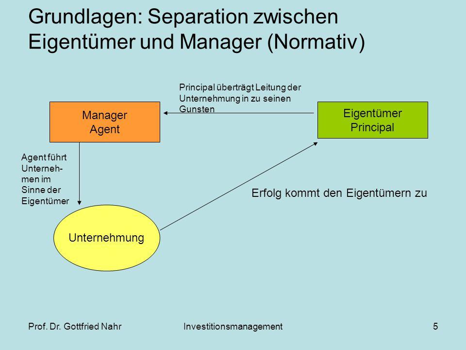 Prof. Dr. Gottfried NahrInvestitionsmanagement5 Grundlagen: Separation zwischen Eigentümer und Manager (Normativ) Eigentümer Principal Manager Agent U