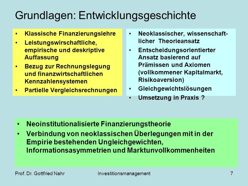 Prof. Dr. Gottfried NahrInvestitionsmanagement7 Grundlagen: Entwicklungsgeschichte Klassische Finanzierungslehre Leistungswirschaftliche, empirische u