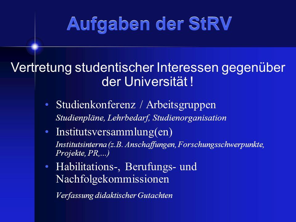 Aufgaben der StRV Studienkonferenz / Arbeitsgruppen Studienpläne, Lehrbedarf, Studienorganisation Institutsversammlung(en) Institutsinterna (z.B.